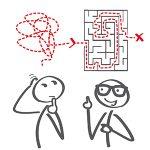 Strichmännchen lösen gezeichnetes Labyrinth