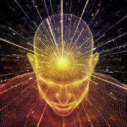 Modellieren: Abstrakt animierter Mann mit Lichtstrahlen, die aus dem Kopf schießen