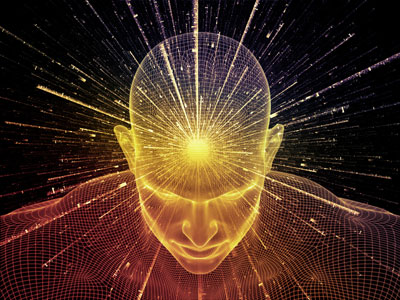 Abstrakt animierter Mann mit Lichtstrahlen, die aus dem Kopf schießen