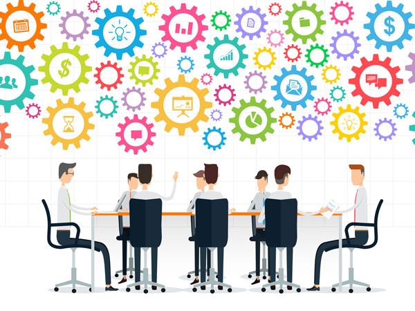 Illustration: Geschäftsmanner am Meetingstisch