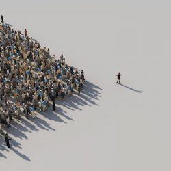 Veränderung: Menschengruppe folgt einer Person